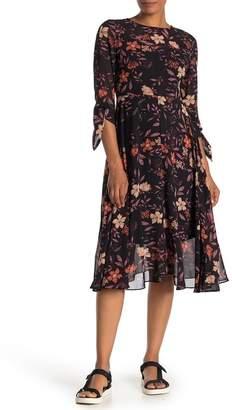I. MADELINE Floral Print Chiffon Midi Dress