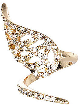 River Island Womens Gold tone rhinestone encrusted wrapped ring