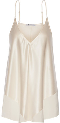 T by Alexander Wang - Chiffon-trimmed Silk-charmeuse Camisole - Cream