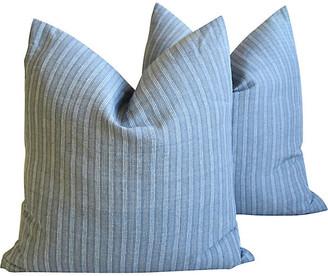 One Kings Lane Vintage Gray Stripe French Ticking Pillows - Set of 2