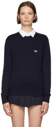 MAISON KITSUNÉ Navy Tricolor Fox Patch Sweater