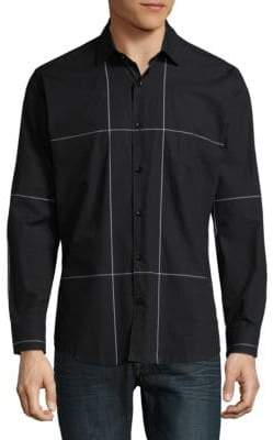 Jared Lang Windowpane Cotton Button-Down Shirt