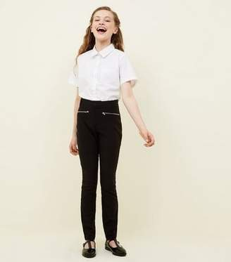 New Look Girls Black Zip Pocket School Trousers