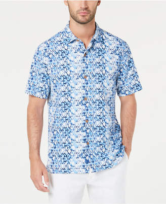 Tommy Bahama Men Hex Factor Geo-Print Silk Camp Shirt
