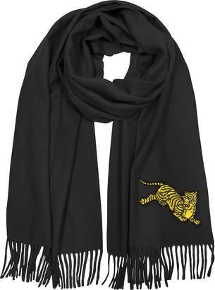 d2bd4bfef at Forzieri · Kenzo Jumping Tiger Fringed Wool Scarf