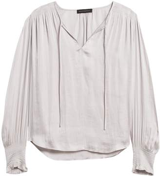 Banana Republic Satin Smocked Tie-Neck Blouse