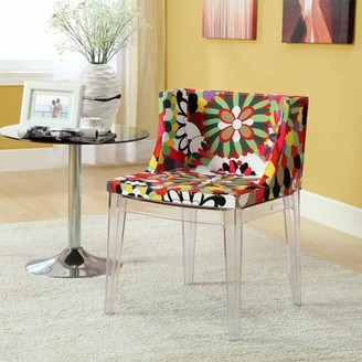 Modway Flower Printed Upholstered Dining Side Chair in Clear
