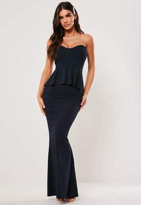 Missguided Bridesmaid Navy Sweetheart Bandeau Peplum Maxi Dress, Navy