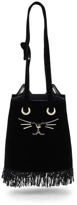 Charlotte Olympia Small Velvet Feline Bucket Bag