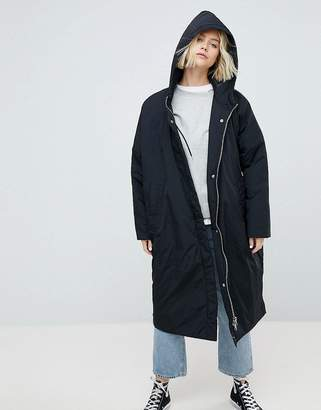 Weekday Longline Parka With Side Popper Detail