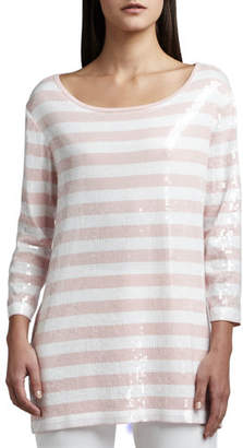 Joan Vass Sequined Striped Tunic, Petite