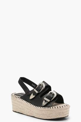 boohoo Buckle Espadrille Wedges