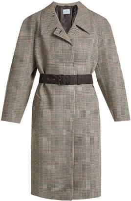 Prada Houndstooth checked wool-blend coat