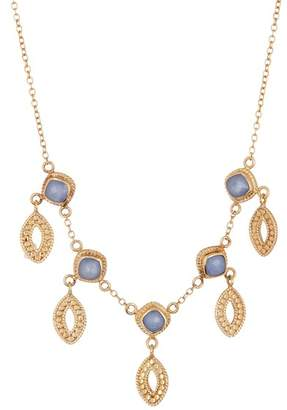 Anna Beck 18K Gold Vermeil Blue Chalcedony Marquis Dangle Necklace