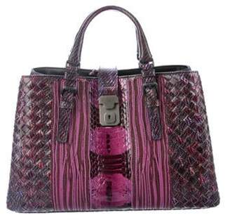 Bottega Veneta Karung & Elaphe Small Roma Bag Violet Karung & Elaphe Small Roma Bag