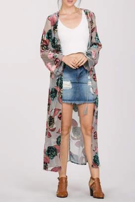 En Creme Floral Burnout Kimono