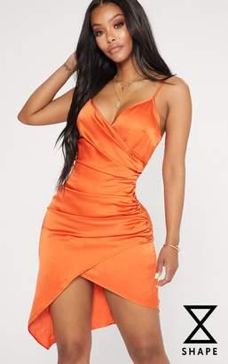 PrettyLittleThing Shape Tangerine Satin Wrap Dress