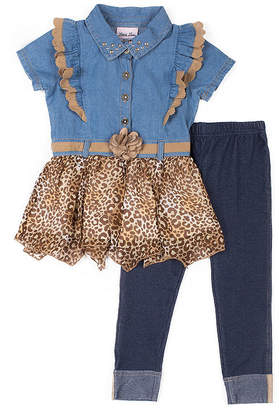 Little Lass 2-pc Leopard Hem Top Legging Set-Baby Girls