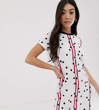 Noisy May Petite stripe and spot t-shirt dress