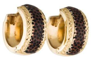 14K Leopard Enamel Hoop Earrings