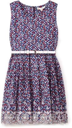 Yumi Girls Ditsy Floral Print Embroidered Hem Dress