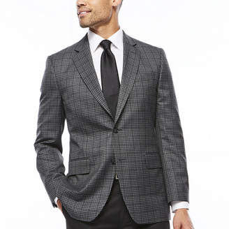 STAFFORD Stafford Travel Year-Round Charcoal Check Sport Coat