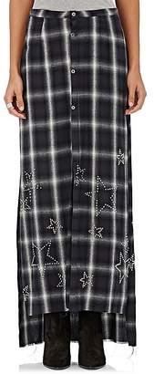 Amiri Women's Star-Studded Plaid Maxi Skirt