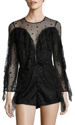 Alice McCall Diamond Dancer Shooting Stars Sparkle Mesh Playsuit $340 thestylecure.com