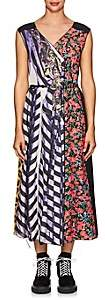 Marc Jacobs Women's Mixed-Print Belted Midi-Dress - Purple