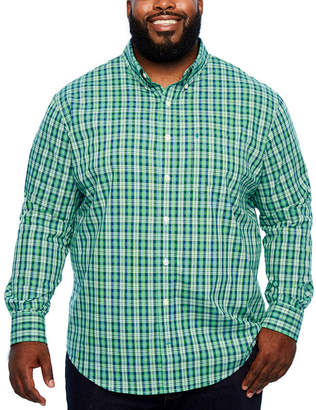 Izod Ls Premium Essentials Mens Long Sleeve Plaid Button-Front Shirt-Big and Tall