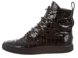 Gianni Versace Patent Leather High-Top Sneakers