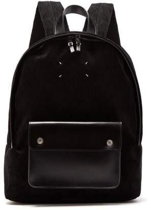 Maison Margiela Corduroy And Leather Backpack - Mens - Black