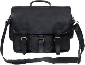 MAHI Leather - Large Leather Harvard Satchel In Ebony Black