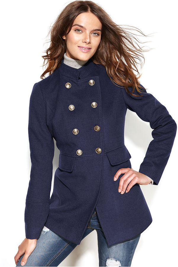 Tommy Hilfiger Double-Breasted Band-Collar Military Coat