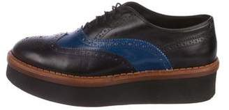 cebf88ebdf1 Tod s Leather Platform Round-Toe Oxfords
