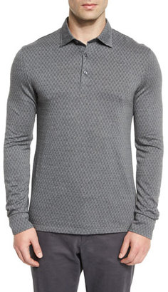 Ermenegildo Zegna Flannel Herringbone Long-Sleeve Polo Shirt, Gray $345 thestylecure.com