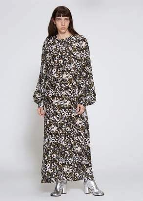 Marni Long Sleeve Silk Crepe Dress