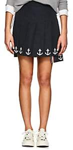 Thom Browne Women's Anchor-Embroidered Cotton Miniskirt-Navy