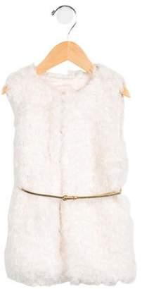 Billieblush Girls' Belted Faux Fur Vest w/ Tags