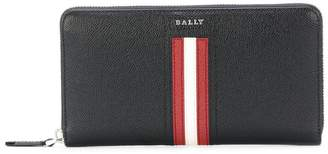 Bally stripe zip around wallet