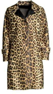 House of Fluff Leopard Faux-Fur Car Coat