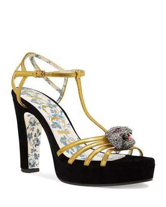 Gucci Elias Velvet-Platform Sandal with Feline Head Ornament