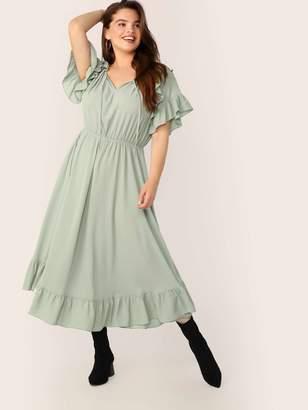 Shein Plus Tie Neck Elastic Waist Ruffle Trim Dress