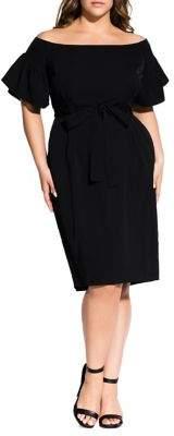 City Chic Plus Off-The-Shoulder Ruffle Sheath Dress
