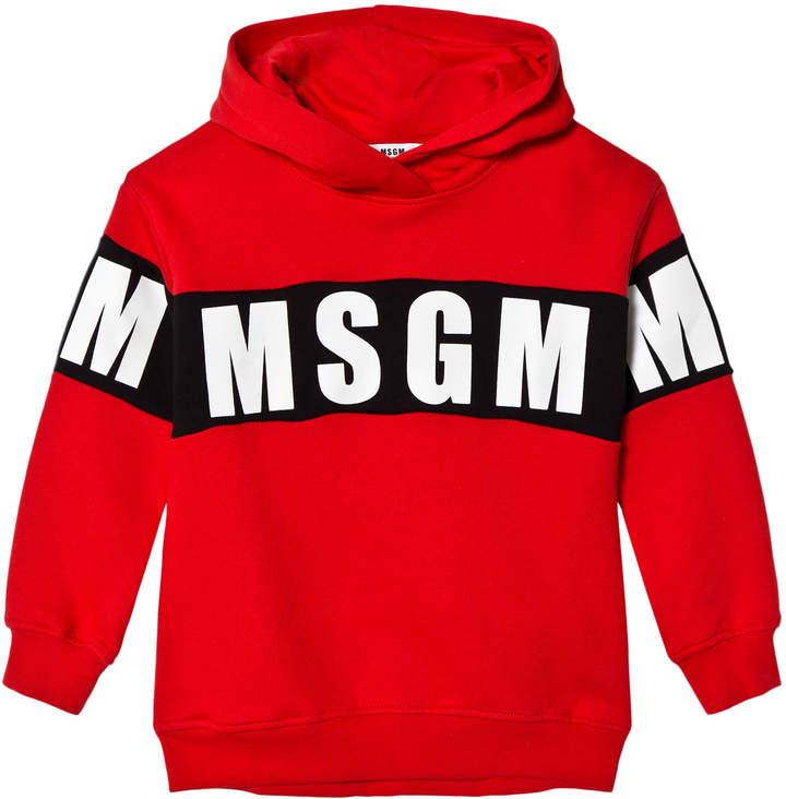 Msgm Red Logo Long Hoody Dress