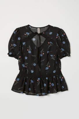 H&M Puff-sleeved Blouse - Black