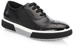 Prada Wing Tip Oxford Leather Sneakers