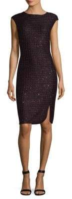 St. John Scalloped Sequin Tweed Sheath Dress