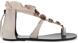 Isabel Marant - Audry Ruffled Leather Sandals - Neutral $645 thestylecure.com
