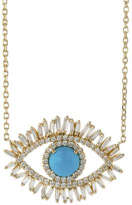 Suzanne Kalan Large Diamond Turquoise Evil Eye Necklace - Yellow Gold